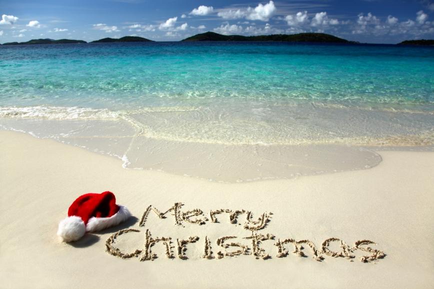 santa's hat on a beautiful tropical beach in the caribbean